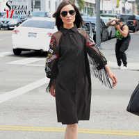 Nueva Mujer de talla grande negro Casual Camisa de vestir 3/4 mangas de malla águila bordado bolso damas Midi recto vestido de fiesta traje 3398