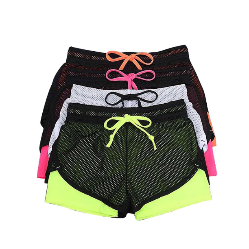 New Women Summer Fitness Fold Short Cool Wear Clothing Cotton Mesh Short Workout Two Layer X