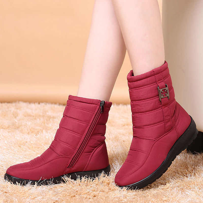 Women Ankle Boots 2019 Winter Boots Female Warm Plush Snow Boots Middle Aged Mother Shoes Solid Fashion Waterproof Cotton Boots