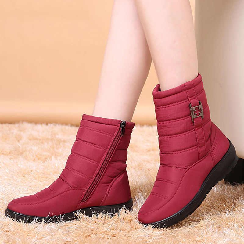 Kadın yarım çizmeler 2019 kış çizmeler kadın sıcak peluş kar botları orta yaşlı anne ayakkabısı katı moda su geçirmez pamuklu bot
