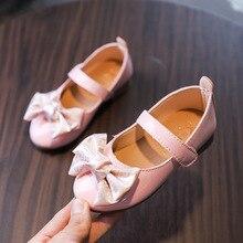 AFDSWG PU shoes girls princess Fashion bow Low-heeled children leather