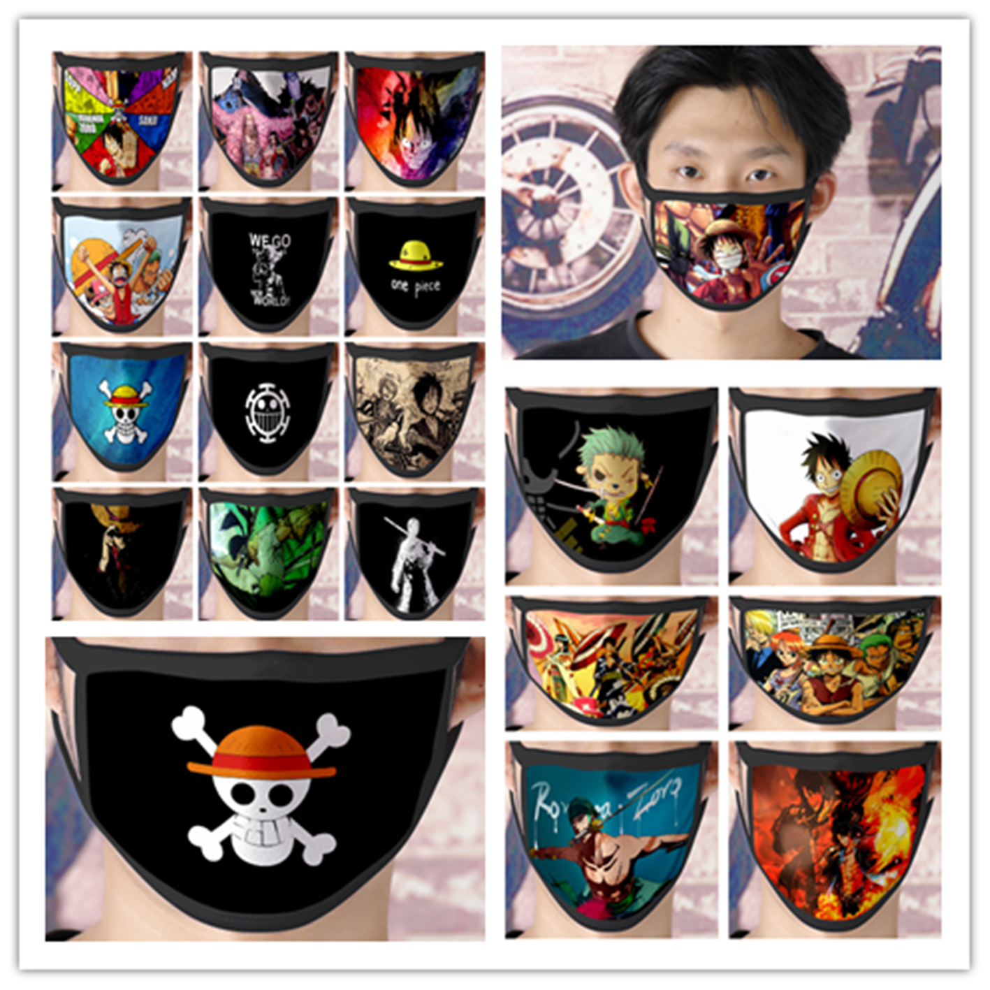 ONE PIECE Cosplay Mask Cartoon Print Masks Protective Reusable Mask Dust Washable New