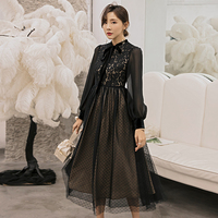 YIGELILA Autumn Fashion Women Black Lace Dress Full Sleeves Empire Slim Ankle length Elegant Dress For Dinner Party 65126