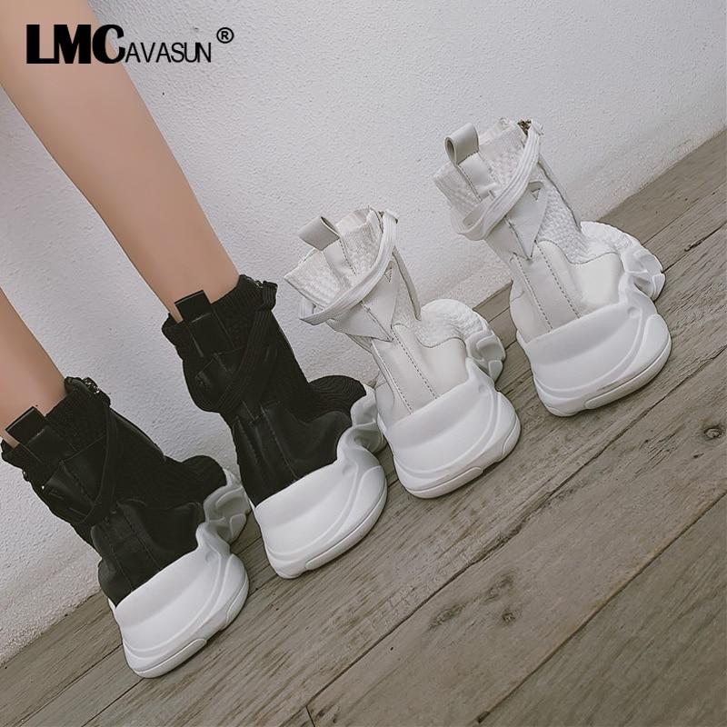 LMCAVASUN/Хлопковые носки; осенние женские модные ботильоны на платформе; Черная Женская Осенняя обувь в стиле хип хоп; женские ботинки