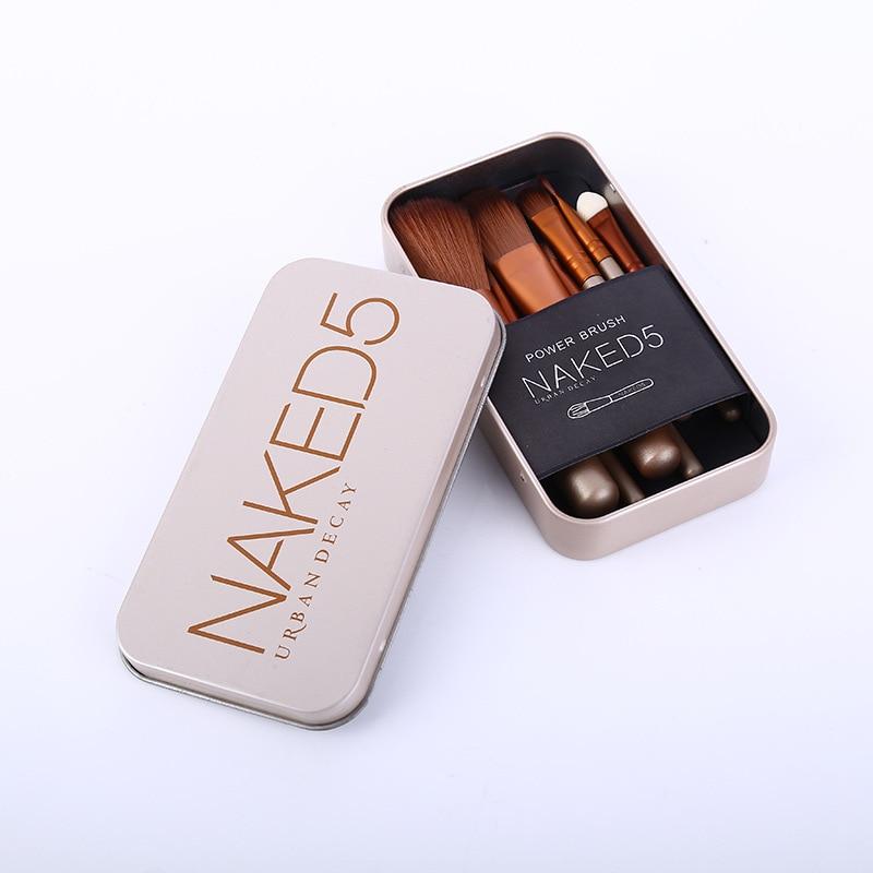 Nackt 7 PCs Make-Up Pinsel Set Heißer Verkauf NK5 Gold Tragbare Zinn Make-Up Pinsel Schönheit Werkzeuge Großhandel