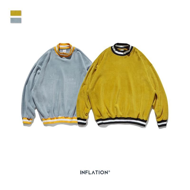 Image 4 - INFLATION Men Sweatshirt Casual Winter Autumn Warm O neck  Sweatshirt Male Velvet Sweatshirts Pullover Men Clothing 9623WHoodies