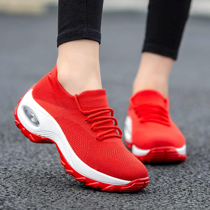 2019 rosa Rot Schwarz turnschuhe Damen Schuhe Frau Casual Herbst Frauen Schuhe Plattform Atmungs Lady Lace Up Schuhe Plus Größe 42