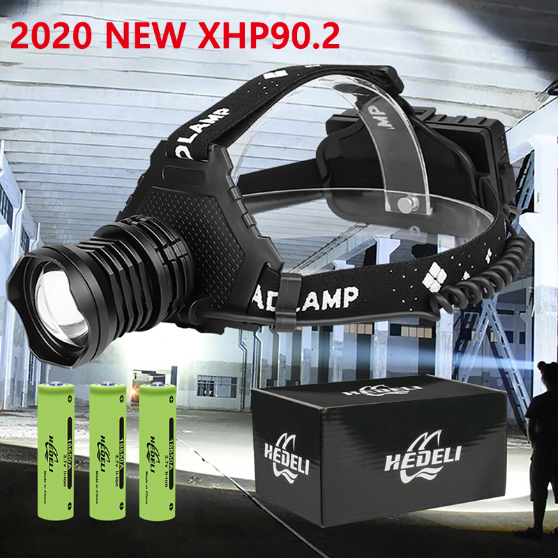 2020 New XHP90 2 Head Lamp XHP90 LED Headlamp 18650 High Power LED Headlight 42W USB Zoom Rechargeable XHP50 Camping Work Light
