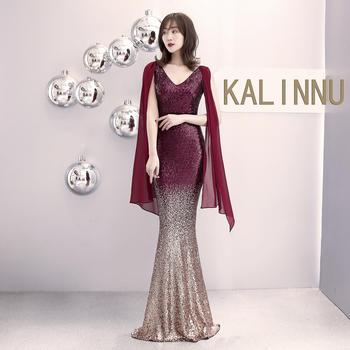 Moderator elegant evening dress female new banquet sexy performance long paragraph sequin  dignified atmosphere fishtail skirt
