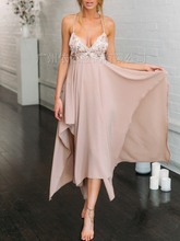 Spring and summer new style Embroidered sequins sweet suspender dress Long nightclub