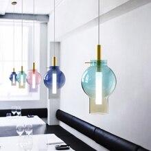 Nordic Modern Led Pendant Light Multicolored Glass Hanging L