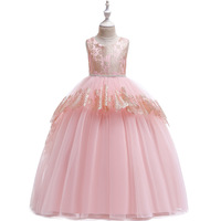 New Girls Long Beading Ball Gown Formal Party Dress Flower Girl Halter Lace Pageant Dresses Toddler Girl Princess Clothes