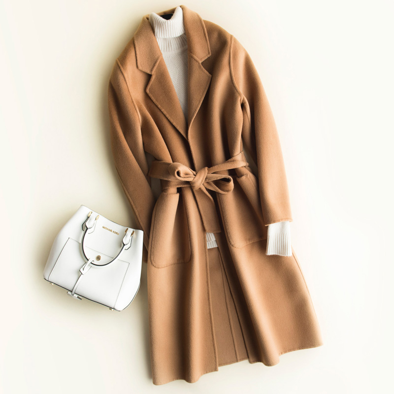 High Quality Autumn Winter Office Elegant Women Double sided Wool Coat Belt Long Overcoat Female Solid Slim Blends Wool Jacket