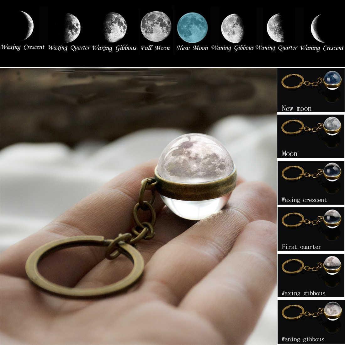 Fase da lua imagem chaveiro planeta nebulosa espaço keyrings galáxia universo lua terra sol marte sistema solar dupla face bola de vidro