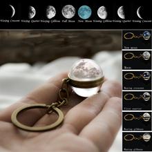 Mond Phase Bild Keychain Planeten Nebula Raum Schlüsselanhänger Galaxy Universum Mond Erde Sonne Mars Solar System Doppelseitige Glas Ball cheap souleather CN (Herkunft) Zink-legierung Mode BZKY Männer Metall Antike Bronze überzogen ROUND TRENDY