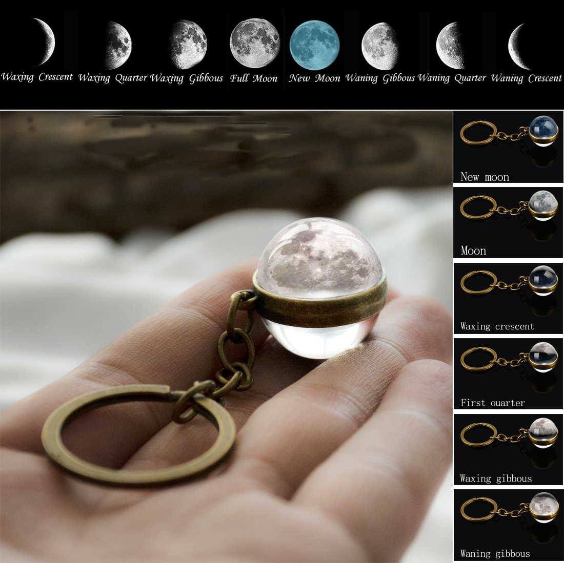 Moon Phase Image Keychain Planet Nebula Space Keyrings Galaxy Universe Moon Earth Sun Mars Solar System Double Sided Glass Ball