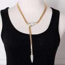 Модное Длинное Ожерелье золотистого цвета с головой Змеи/серебряного