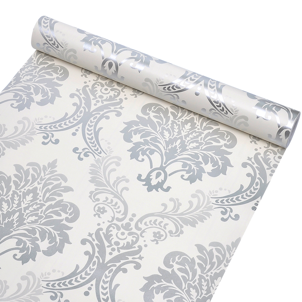 Luxury Victorian Damask 3D Wallpaper Roll Home Decor Living Room Bedroom Silver Floral Wall Paper