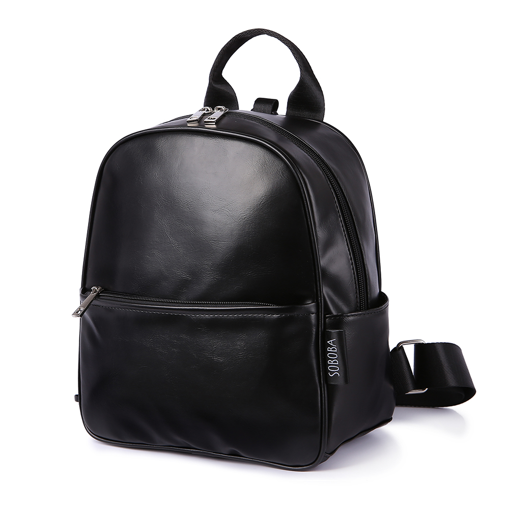 Toddler Baby Harness Backpack Black Smooth Leather Large Capacity Kindergarten Bag Anti-lost Travel Backpack For Boy