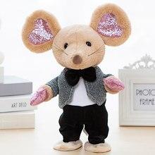 Robô música mouse brinquedos dança falar eletrônico pelúcia mouse controle de som interativo ratos cantar canção animal para crianças presente aniversário