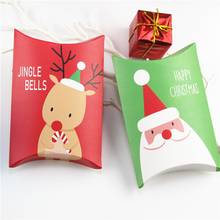 10PCS Christmas Santa Elk Cookie Box Pillow Origami Candy Gift Baking Packaging Holiday Theme Decoration