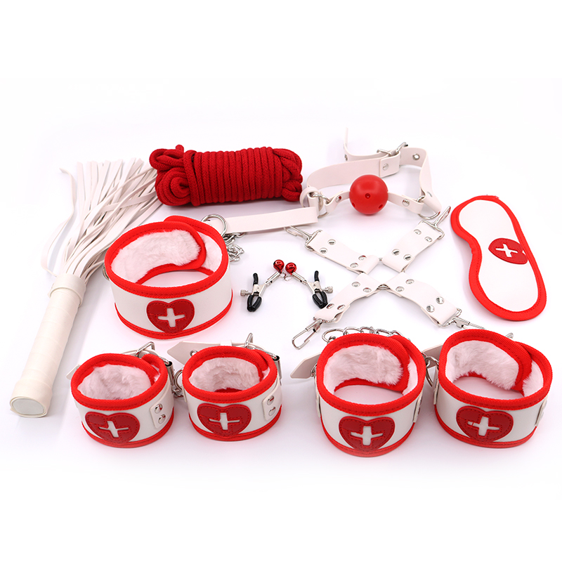 9Pcs BDSM Erotic Sex Toys For Couples Handcuffs Whip Nipples Clip Blindfold Mouth Gag Adult Sex Toys Kit Bondage Toy Flirt Games