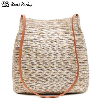 South Korea's Casual Women Bucket Straw Bags Female Summer Handmade Woven Rattan Beach Bags Ladies Fashion New Shoulder Handbags