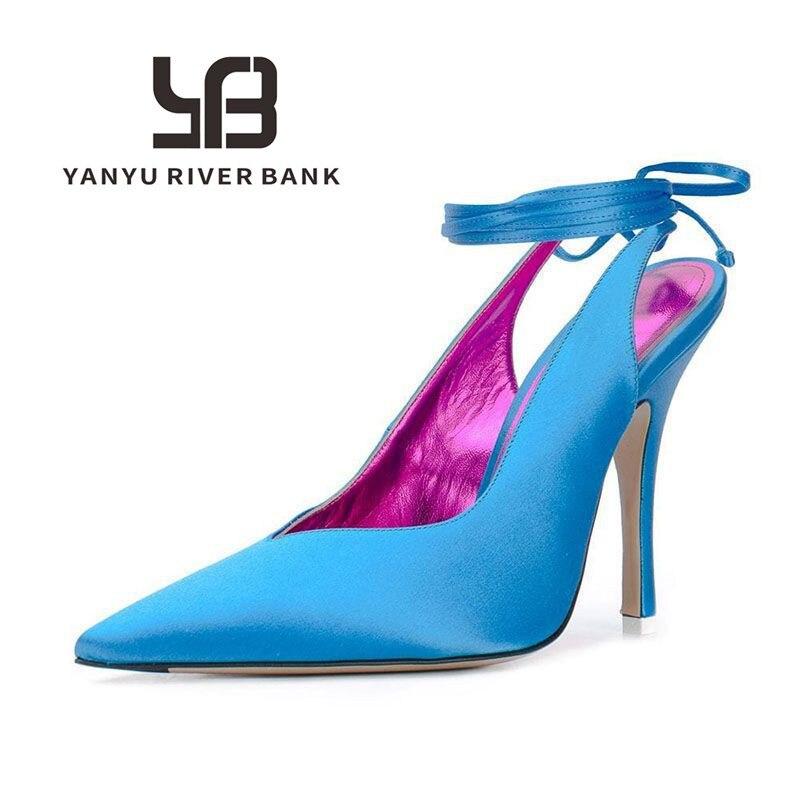 Сандалии Baotou женские на шнуровке, босоножки на высоком каблуке, шелковые туфли с острым носком, обувь для вечевечерние в римском стиле, лето ...