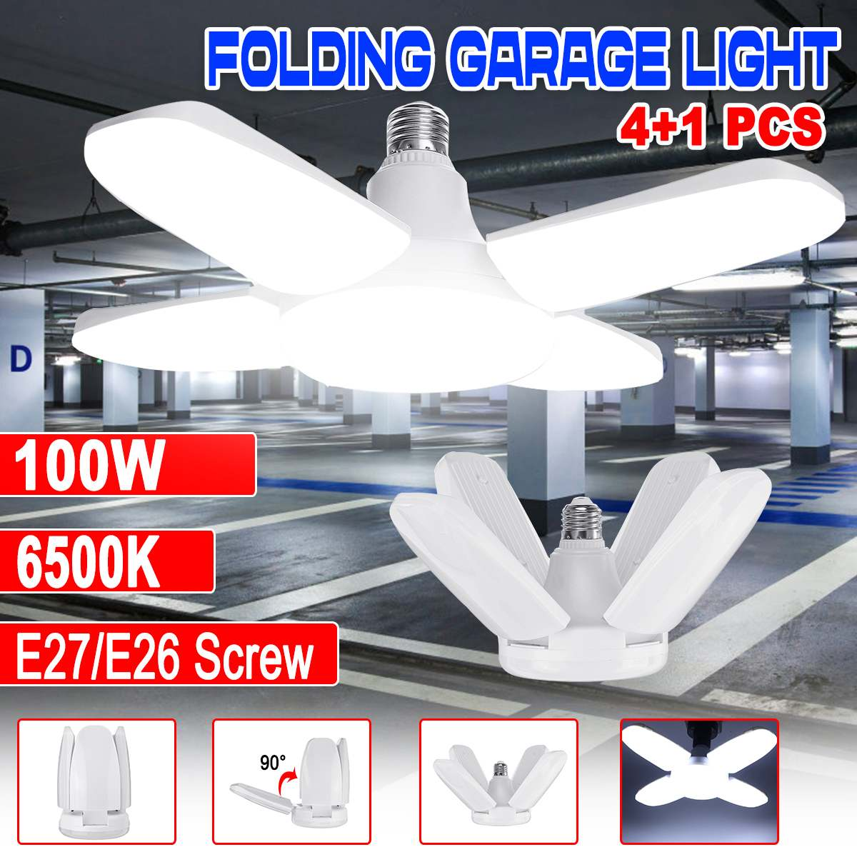 100W 6500K LED Garage Lights Shop Utility Ceiling Deformable E27/E26 Daylight LEDs Lamp For Garage Basement Workshop