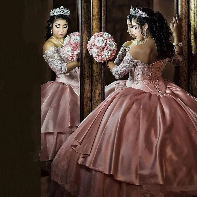 Us 16065 15 Offprincess Tiered Skirt Ball Gown Quinceanera Dresses Vintage Lace Organza Sixteen Dress 34 Sleeve Corset Vestidos Prom Dresses On