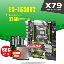 Placa base X79 Turbo LGA2011 ATX, combos E5 1650 V2, 4 Uds. x 8GB = 32GB, 1600Mhz, PC3, 12800R, PCI E, NVME, M2, SSD, USB 3,0, SATA3