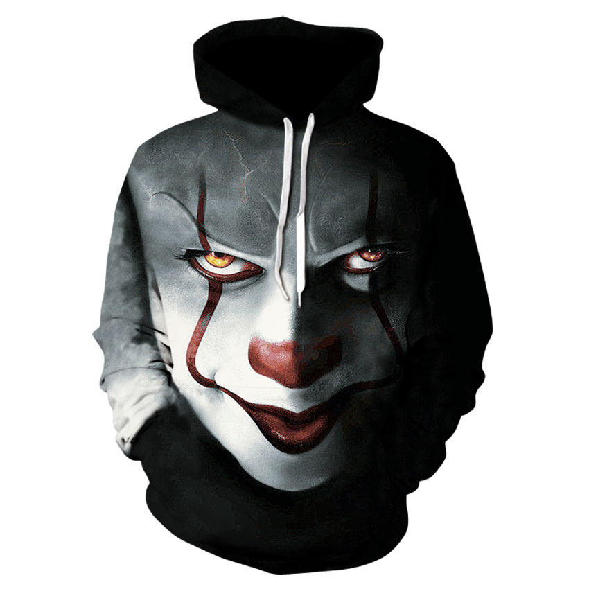 Movie Stephen King IT Suicide Squad The Clown Pennywise Hoodies Halloween Cosplay Costume Men 3D Print Joker Hooded Sweatshirt