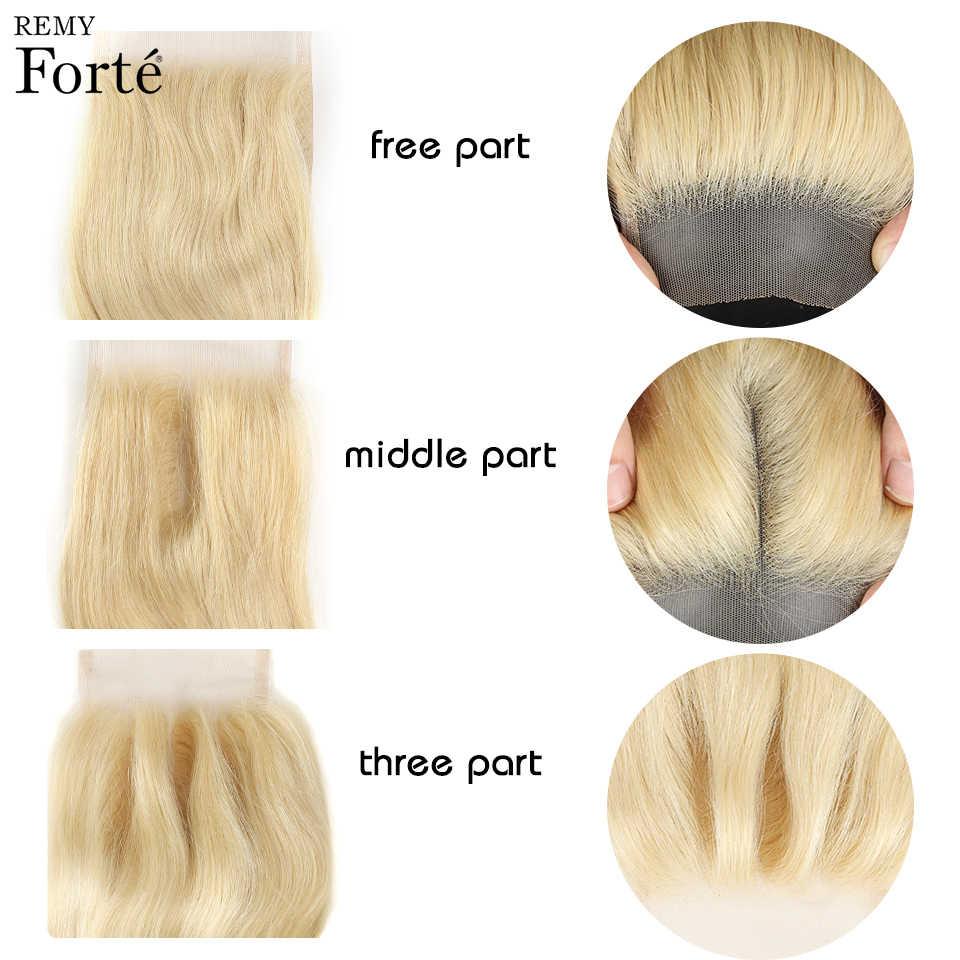 Remy Forte блонд прямые пряди с закрытием оранжевые бразильские волосы плетение пряди 3 пряди человеческие волосы с закрытием Быстрая доставка США