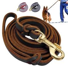 Correa de perro de cuero fuerte Seguimiento de mascotas correas de plomo Pitbull K9 perros grandes alemán Pastor entrenamiento caminar cuerda de plomo 1,5 m /2,5 m