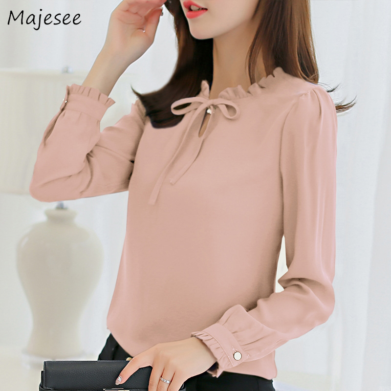 Blouses Women Solid Bow Kawaii Sweet Girls Elegant Ladies Tops Shirt Long-sleeved All-match Office Lady Casual Chiffon Fashion