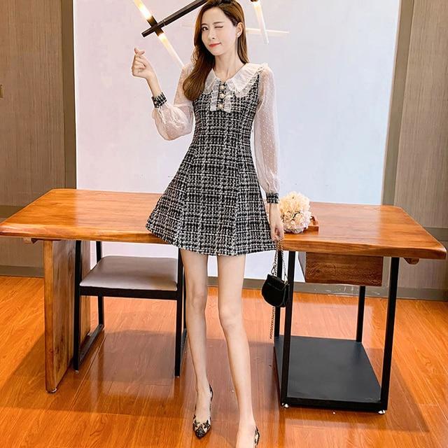 COIGARSAM Women Korean dress Long Sleeve New Patchwork Dresses Black Light Green 1090 2