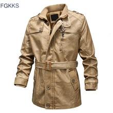 FGKKS Winter Brand Men PU Leather Jackets Mens Fashion Washed Leather Coats Male Outdoor Locomotive Leather Jacket