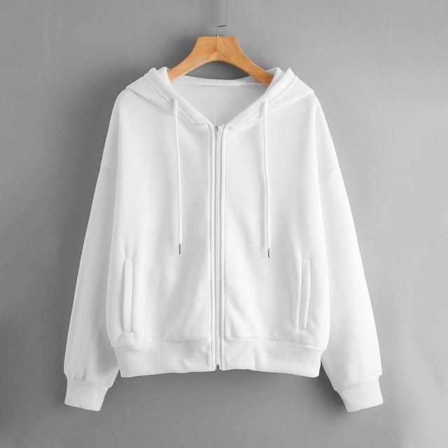 Lose Weight White Women Casual Solid Long Sleeve Zipper Pocket Shirt Hooded Sweatshirt Tops Hoodies Women Ropa Mujer 1