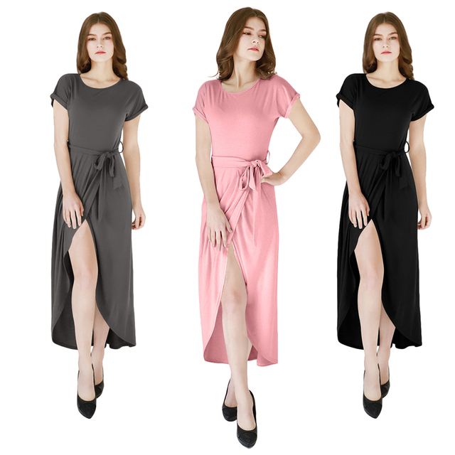 YMING Summer Party Women Dress Long Maxi Dress Pink Split Beach Sundress Elegant Women Dresses Casual Black Vestidos Robe Femme