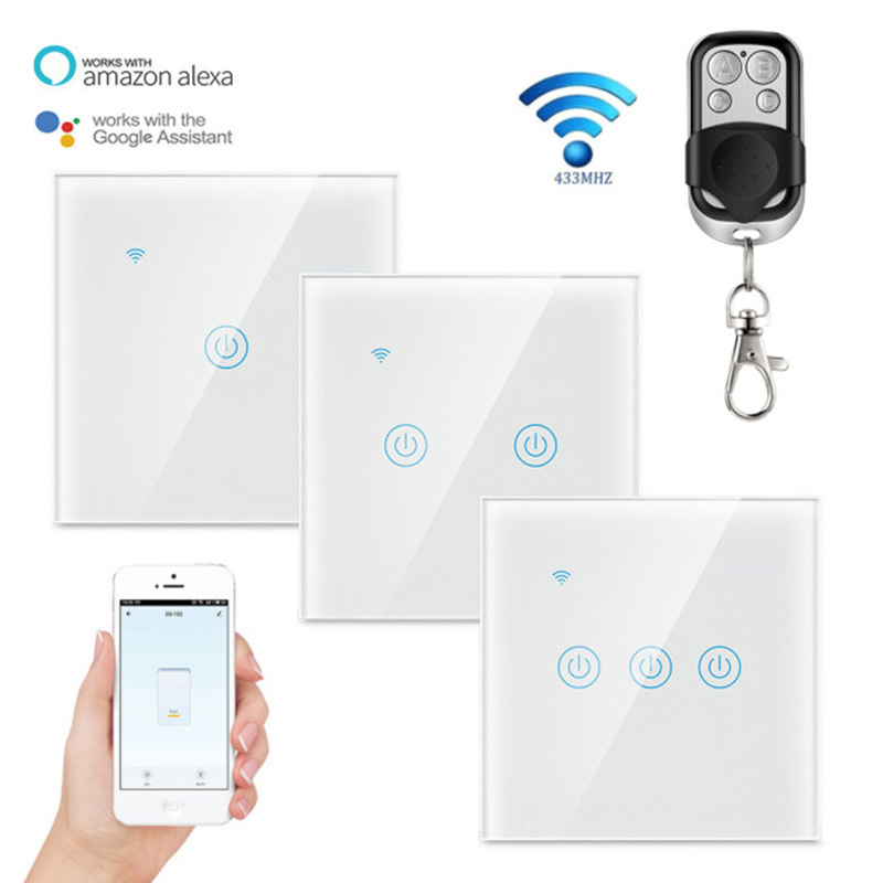 RF433 Wireless Remote Smart Licht Keine Neutralen Draht Erforderlich Tuya WIFI Smart Home Controller EU Standard mit fernbedienung