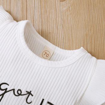 Zestawy dla niemowląt noworodek dziewczynek nadrukowane litery Romper body + spodenki z falbankami stroje księżniczka sukienki odzież codzienna tanie i dobre opinie COTTON 7-12m CN (pochodzenie) Unisex Moda O-neck Sweter Krótki REGULAR Pasuje prawda na wymiar weź swój normalny rozmiar