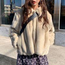 Women's rabbit fur coat 2020 winter warm White comfortable faux fur Jacket long sleeve oversize Artificial fur Overcoat female