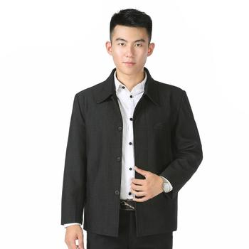 Chinese Style Men Elegant Jackets Male  Autumn Spring Grey Coat Regular Turn-down Collar single-breasted Daily Outerwear For Man