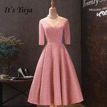 It's Yiiya Prom Dresses Elegant Soybean Plus Size vestidos de gala V-neck Half Sleeve Tea Length Dress Women Party Night LF040 v neck half sleeve tea length dress