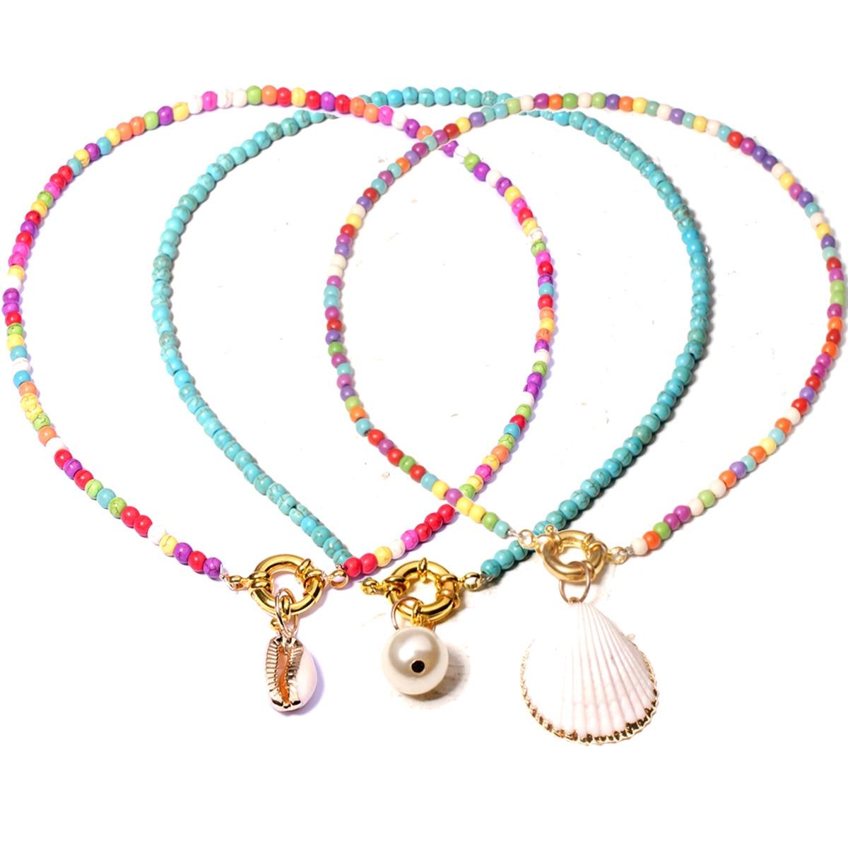 Женский чокер с разноцветными бусинами, модное золотистое богемное летнее колье с жемчужинами и ракушками, 2020