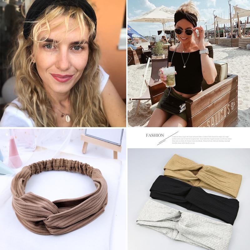 Women Print Headbands Summer Hair Bands Soft Solid Cross Turban Hairband Hair Accessories Girl Accessories(China)