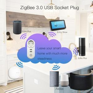 Image 5 - Tomada inteligente de zigbee usb plugue da ue para a rússia coreia polónia tuya controle tomada funciona com alexa smartthings wink hub zigbee ha hub