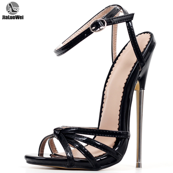 Fetish High Heels Sandals Women Fashion Ankle Strap Pointed Toe Shoes Metal Thin Heels Buckle Strap High-Heeled Unisex Shoes gold silver genuine leather thin high heels platform buckle strap sandals fashion party shoes women