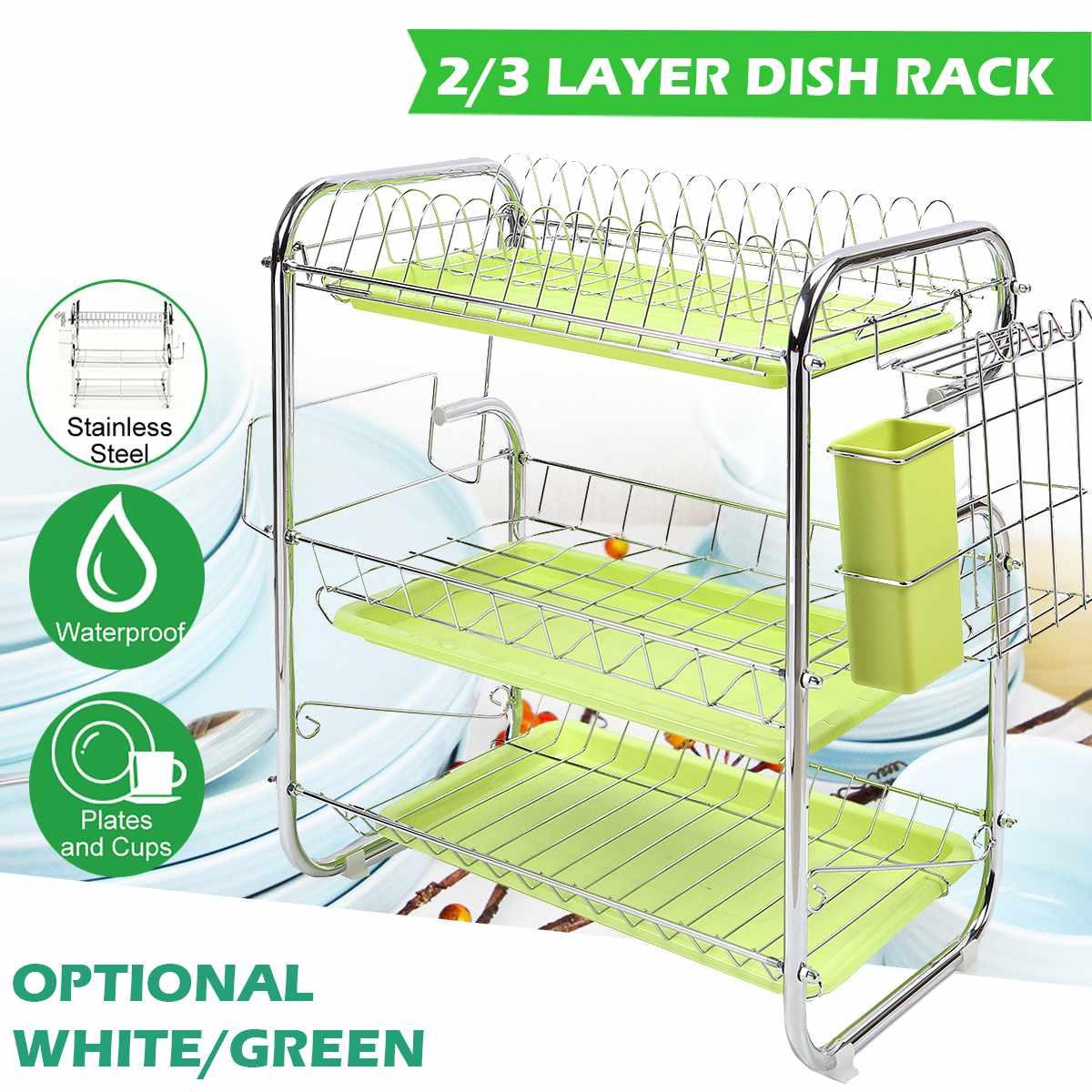 2/3 Layer Dish Drainer Iron Art Kitchen Cutlery Drain Rack Utensils Storage Organizer Rustproof Dishes Plates Organization Shelf