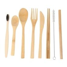 2 упаковки бамбуковой посуды с бонусом 2 бамбуковые зубные щетки бамбуковая соломинка, ложка, вилка, нож, чайная ложка, палочки для еды, щетка и 2 зеленых St